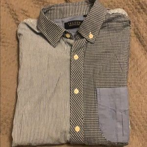 Velour blue striped/gingham contrast shirt